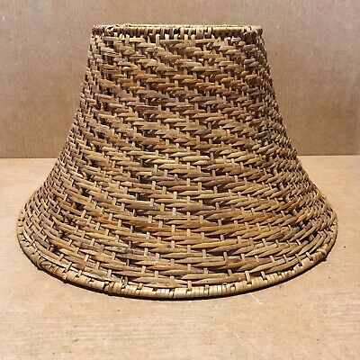 Vintage Medium Rattan Wicker Woven Lamp Light Pendant Ceiling Shade 20 Cm H