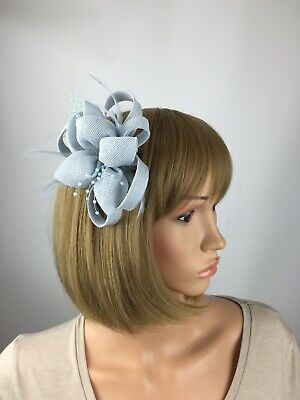 Pale Blue Baby Blue Light Blue Fascinator Brooch Clip Wedding Corsage Races