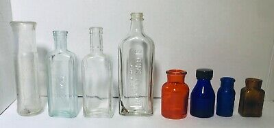 8  Antique Medicine Bottles Clear Brown Amber & Blue