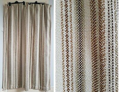 "Vintage Retro 60s 70s Mid Century Geometric Striped Woven Curtains 47""w x 72""l"