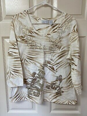Zenergy by Chicos NWOT Ivory & Brown w/Gold Foil Design.  Size 2