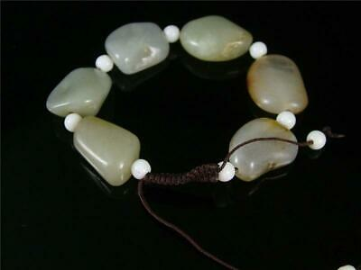 Old Chinese Celadon Nephrite Jade Carved Bracelet composed of 6 loose beads