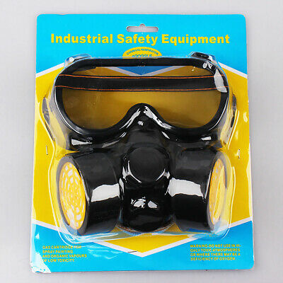 Double Filters Mask Anti Gas Anti-Dust Chemical Pesticide Respirator w/ Goggles