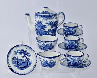 Mid-1800s Blue & White WRS & Co Ridgways HUMPREY'S CLOCK Tea Set for 3