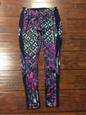 Avia Womens Blue Stretch Pants Workout Athletic Yoga Size Small Stained Glass
