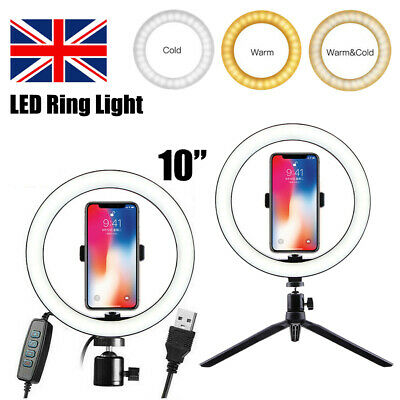 """10"""" Selfie Dimmable LED Ring Light Tripod Stand For Studio Camera Live Video UK"""