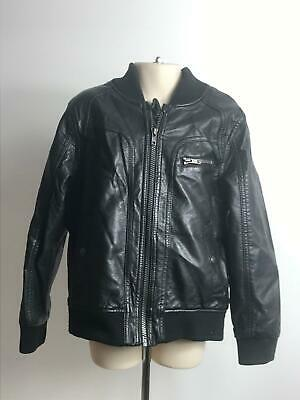 Girls Marks & Spencer Black Leather Look Coat Jacket Kids Age 6-7 Years