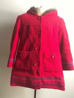 Girls Marks & Spencer Red Hooded Winter Coat Jacket Kids Age 4-5 Years
