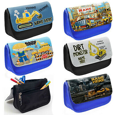 Personalised Boys Digger Pencil Case School Stationary Kids Childrens Bag Gift