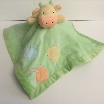 Just One Year Carters Cow Green Security Blanket Lovey Satin Rattle I Love Mommy