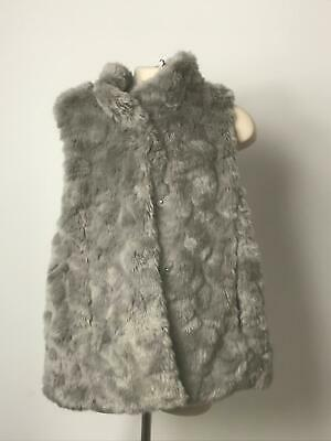 Girls Zara Girls Grey Faux Fur Gilet Warm Winter Coat Jacket Kids Age 7-8 Years