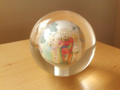 Vintage Large Reverse Hand Painted Chinese Japanese Design Glass Orb Paperweight