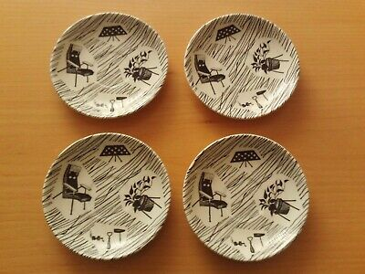 Vintage 50s/60s Ridgway Potteries Ltd Homemaker Black/White X4 Saucers.