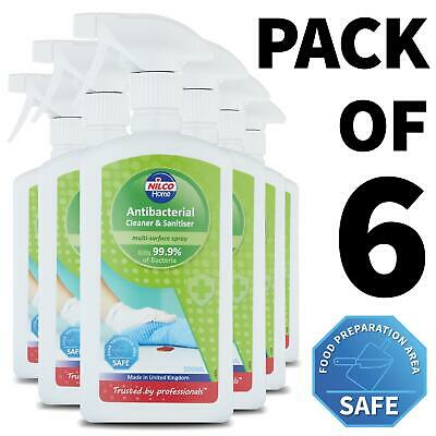6 x Nilco Antibacterial Cleaner and Sanitiser 500ml Multi-Surface Spray