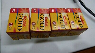 Lot of 4 - Kodak Gold 100 - 35mm 24 Exposure - Expired - CAT 402 2208