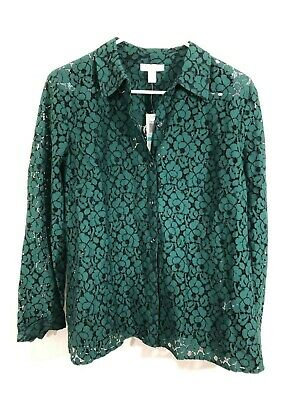 NWT Charter Club Petites 16 P Green Lace Button Up Top new shirt women's