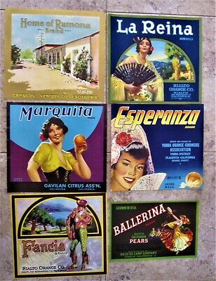 Assorted Spanish, Mexican Theme Original Fruit Crate Labels, 6 different