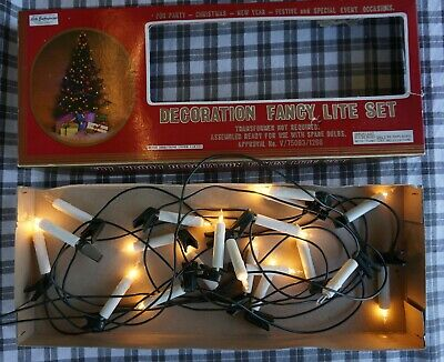 Vintage Candle Style Clip on Christmas Tree String Lights as found
