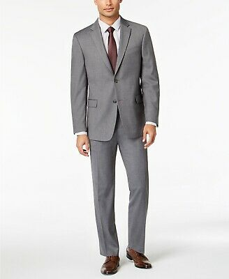 $495 Tommy Hilfiger Men's Modern Fit Stretch Gray Twill 2 PC Suit 40R 34 x 30