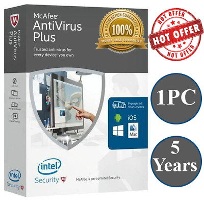 Mcafee Antivirus Plus 5 Years 🔑 1 Device 🔥 Windows, Mac & Mobile
