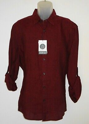Perry Ellis Mens L/S Shirt Size XL Dark Red 100% Linen * Untucked * NWT