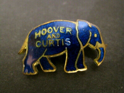 Antique HOOVER & CURTIS Blue Elephant Political Pin Brooch 1928 #22