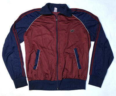 Vintage Adidas Zip Track Jacket L Large Burgundy Red Navy Blue Retro 80's VTG