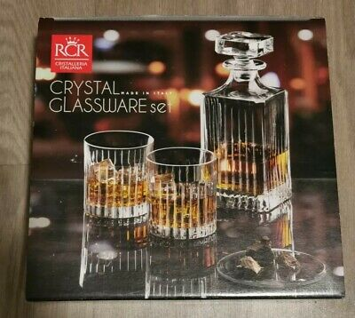 RCR 7 Piece Wine Whiskey Crystal Tumbler Glasses and Square Decanter Set