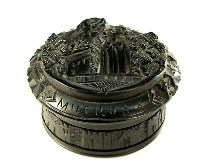 ^ Antique Irish Folk Art Carved Black Peat BOG OAK Wood Snuff Box MUCKROSS ABBEY