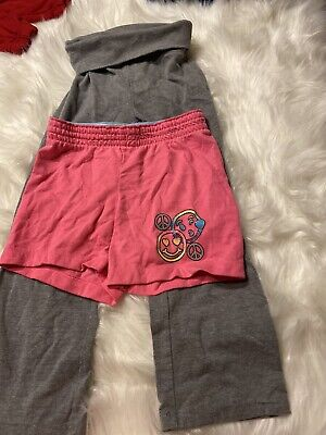 Lot Of 2 Girls Bottoms 4/5 One Pant One Short Pink Grey