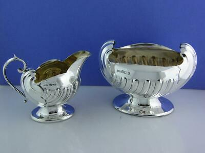 English Sterling Silver Creamer & Sugar Bowl Atkin Bros Sheffield c1900 Nautical