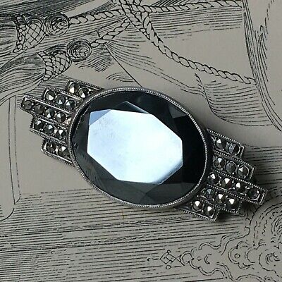 Broche Ancienne Art Déco 1930 Argent Onyx Marcassites - Silver French Brooch