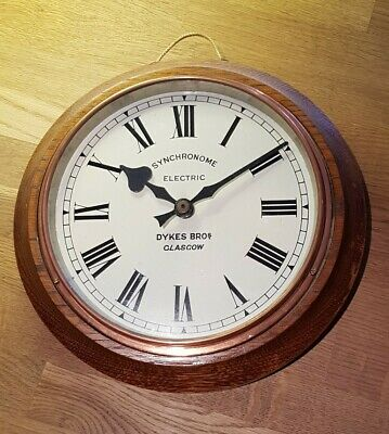 Vintage Industrial Synchronome Electric Wall Clock by Dykes Bros Glasgow c.1930