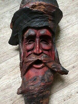 Tree Wizard Wood Spirit Carving Knot Head Forest  Hand Carved Face nature art