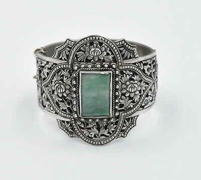 Antique Chinese JADEITE JADE Sterling Silver Engraved Bangle Bracelet BUCKLE