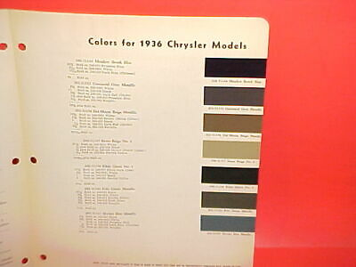 1936 Chrysler Imperial Airflow Convertible Coupe Touring Sedan Paint Chips 36