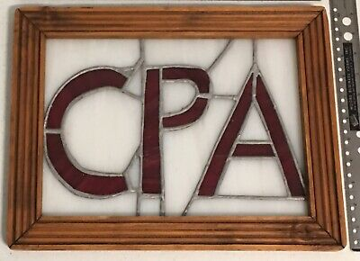 """Stained Glass Advertising Window Sign CPA For Accountant Tax Office 14.5 x 11"""""""