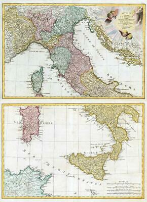 1785 L'Italie Divisee en ses Differens Etats PAIR OF Large MAPS of ITALY  (JM)