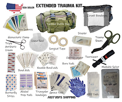 Tactical First Aid Survival EMT Trauma Kit- OD Green Extended Trauma Kit IFAK
