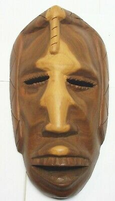 Hand Carved Wooden Mask Tribal Folk Art Sculpture Wall Hanging Fast Shipping