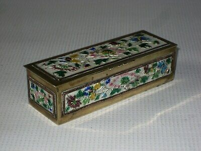 Antique Chinese Floral & Butterflies Decorated Enamel & Brass Postage Stamp Box