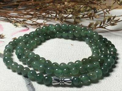 5.5mm 100% Natural A Oil Green Emerald Jade Beads ~Necklace Have certificate1100
