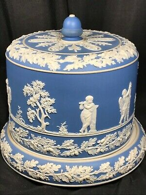 Dudson Jasperware Wedgwood Style Blue White Cheese Dome Cake Plate Cherub Putti