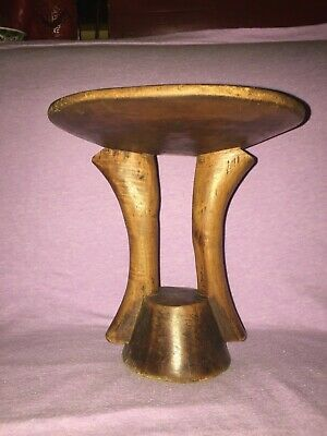 African Hand Carved Wooden Two Legged Stool - Antique Vintage