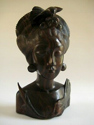 Vintage Balinese Indonesia Hand Carved Exotic Wood Bust of a Young Maiden