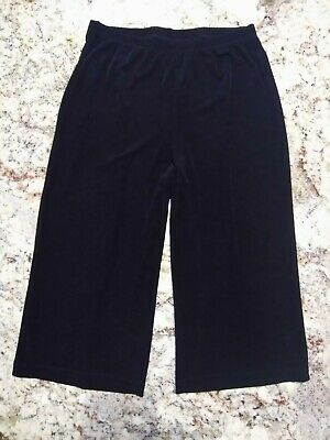 Chico's Travelers Size 1 Black Slinky Stretch Wideleg Crop Pants