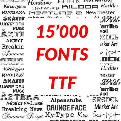 15000 Fonts TTF Format - Email Delivery