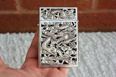 19th Century Chinese Export Solid Silver Card Case 87 Grams