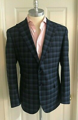 Canali Kei Blue & Gray Check Blazer 100% Wool Size 42 Made In Italy NWT $1595