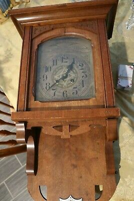 Antique Germany Made Wall Mount Oak Finish Regulator Clock